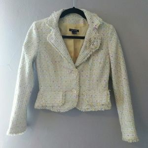 Pastel Yellow Tweed Cropped Blazer